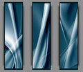 Blue abstract banners set of three isolated on a grey surface Royalty Free Stock Image