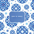Blue abstract circles frame seamless pattern vector background with hand drawn elements Royalty Free Stock Image