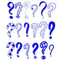 Blue abstract. Hand drawn set of doodle question marks. Vector illustration for your icon, background, wallpaper design. Cartoon
