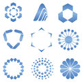 Blue abstract logo shapes web design elements Royalty Free Stock Photography