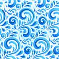 Blue abstract ornate flowers seamless pattern Royalty Free Stock Photos