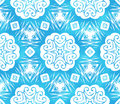 Blue abstract snowflakes seamless pattern Stock Photography