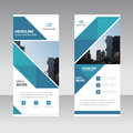 Blue abstract triangle Business Roll Up Banner flat design template ,Abstract Geometric banner template Vector illustration set, Royalty Free Stock Photo