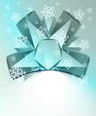 Blue abstract triangle symmetry with snow Stock Images