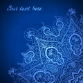 Blue abstract vector background. Lace border frame Royalty Free Stock Photo