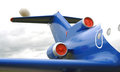 Blue airplane engine, tail and windows Royalty Free Stock Photo