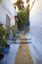 Blue alley one of the beautiful of the chefchaouen medina in morocco Royalty Free Stock Photo