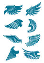 Blue angel or bird wings icons for heraldic design symbols tattoo t shirt print emblem with with long and stiff flight feathers Stock Image