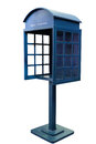 Blue antique phone booth on white background with path Stock Photos