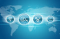Blue application icons with world map Royalty Free Stock Photo