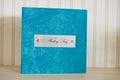 Blue aqua velvet wedding photobook Royalty Free Stock Photo