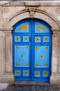 Blue arabic door Stock Photo