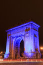 Blue arch of triumph autism day april Royalty Free Stock Image