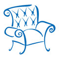 Blue armchair symbol for furniture industry on white Stock Image