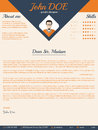 Blue arrow cover letter design cv resume template Stock Photography