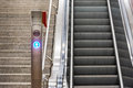 Blue Arrow Escalator Stairs Electric Train Station Metal Conveyo Royalty Free Stock Photo
