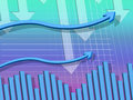 Blue arrows background shows downwards pointing and columns showing Royalty Free Stock Photo