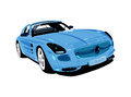 Blue artistic auto sport car drawing and aesthetic Royalty Free Stock Photography