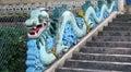 Blue asian dragon sculpture Royalty Free Stock Photo