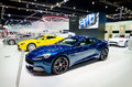 Blue aston martin sport car v vantage s in thailand motor show in april at impact arena muang thong thani thailand Royalty Free Stock Photography