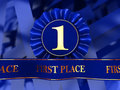 Blue award ribbons Royalty Free Stock Image