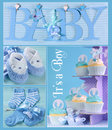 Blue Baby Boy Collage Royalty Free Stock Photo
