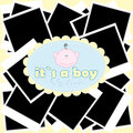 Blue baby boy shower with photo frames Royalty Free Stock Photography