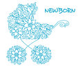 Blue baby carriage in floral style for newborn holiday design Royalty Free Stock Photo