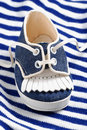 Blue baby shoe Royalty Free Stock Photography