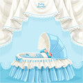 Blue baby shower card with newborn baby in the cri cute little crib Royalty Free Stock Photos