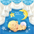 Blue baby shower card with sweet sleeping newborn on lace background Royalty Free Stock Photography