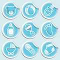 Blue Baby Shower Stickers Royalty Free Stock Photo
