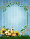 Blue background with chicks and daisies Stock Images