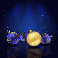 Blue background with christmas baubles and stars illustration Stock Photo