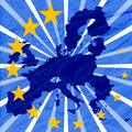 Blue background with european union map and yellow vector illustration of stars Stock Images
