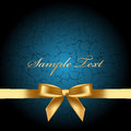 Blue background with gold bow vector Royalty Free Stock Image