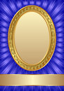 Blue background with golden frame Stock Photo