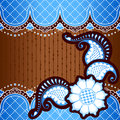 Blue background inspired by indian mehndi designs banner in vibrant orange and gold henna tattoos graphics are grouped and in Royalty Free Stock Photo