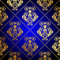Blue background with luxury gold ornament vector Stock Images