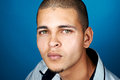 Blue background man portrait Royalty Free Stock Photo