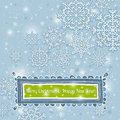 Blue background of snowflakes with label vector illustration Royalty Free Stock Image