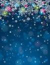 Blue background with snowflakes vector illustrati christmas stars and illustration Royalty Free Stock Photo