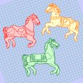 A set of outline drawings of three different beautiful horses with a harness Royalty Free Stock Photo