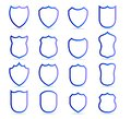 Blue badge patches vector outline templates. Sport club, military or heraldic shield and coat of arms blank icons vector