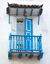 Blue balcony old in cartagena colombia Stock Photography