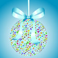 Blue Ball of Colorful Flowers with a Bow Royalty Free Stock Photo