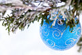 Blue ball on fir branch Royalty Free Stock Images