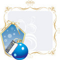 Blue ball and snowflakes in the decorative frame Royalty Free Stock Photos
