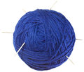 Blue ball of wool cutout with needles isolated on white background Royalty Free Stock Photo