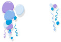 Blue balloons border for boy frame illustration birthday cards and party card Royalty Free Stock Photos